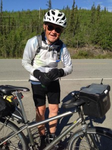He's an old guy with Parkinson's riding his bike across Canada.