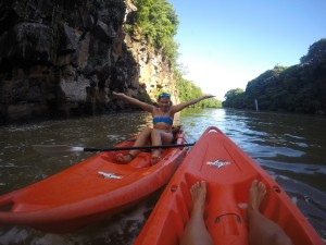 Kayaking to the falls and feeding monkeys